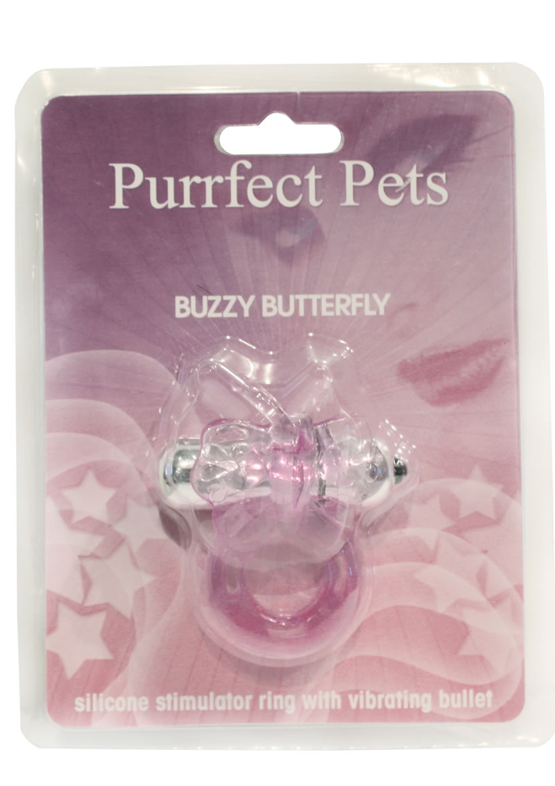 Purrrfect Pets Buzzy Butterfly Silicone Stimulator With Vibrating Bullet Purple