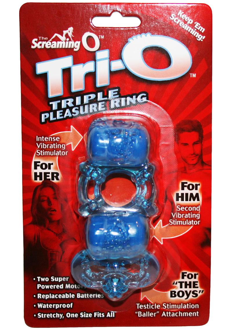 Tri O Triple Pleasure Ring Silicone Waterproof Assorted colors