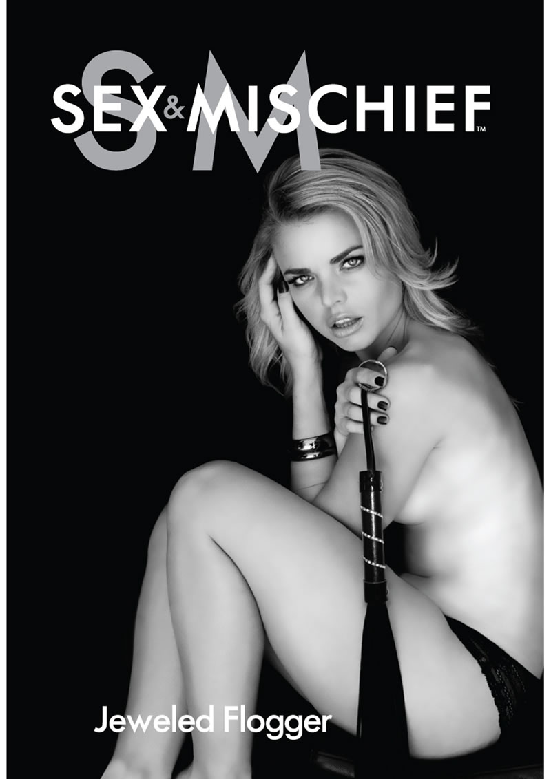 Sex and Mischief Jeweled Flogger Black