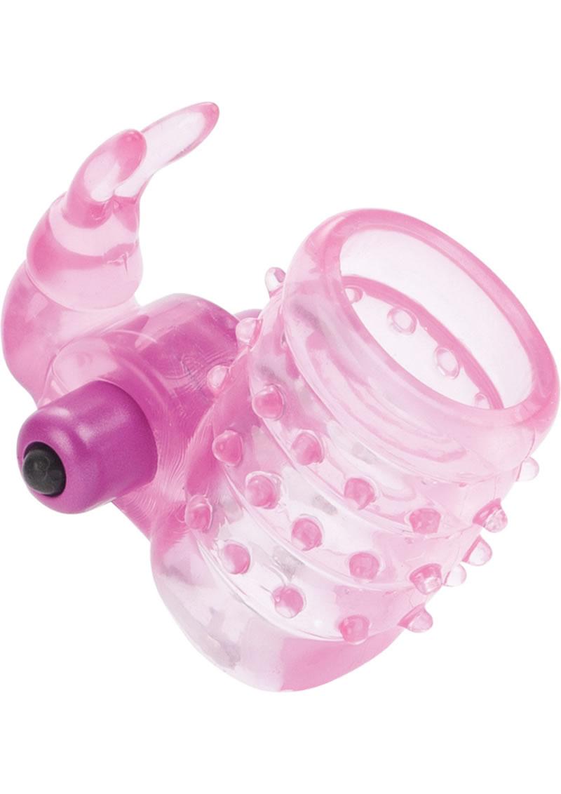 Basic Essentials Stretchy Vibrating Bunny Enhancer Waterproof Pink