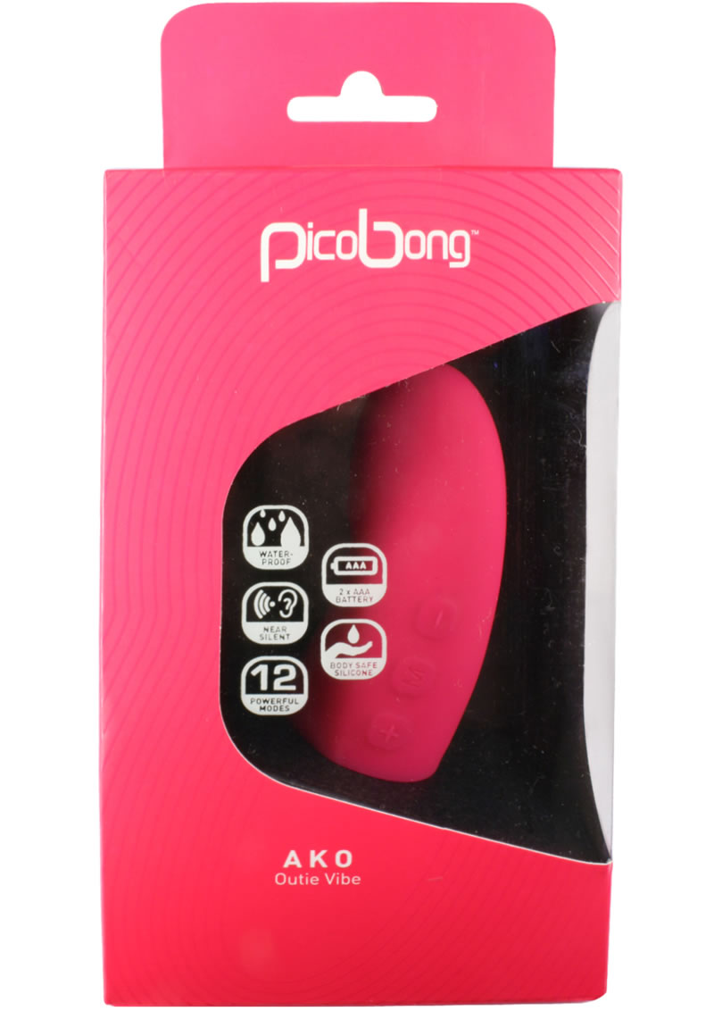 Pico Bong Ako Outie Silicone Vibe Waterproof Cerise