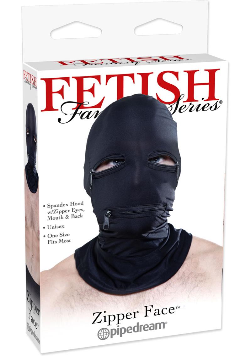 Fetish Fantasy Series Zipper Face Spandex Hood Black One Size
