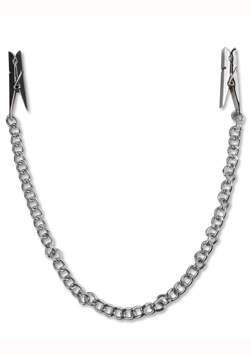 Fetish Fantasy Nipple Chain Clips Silver