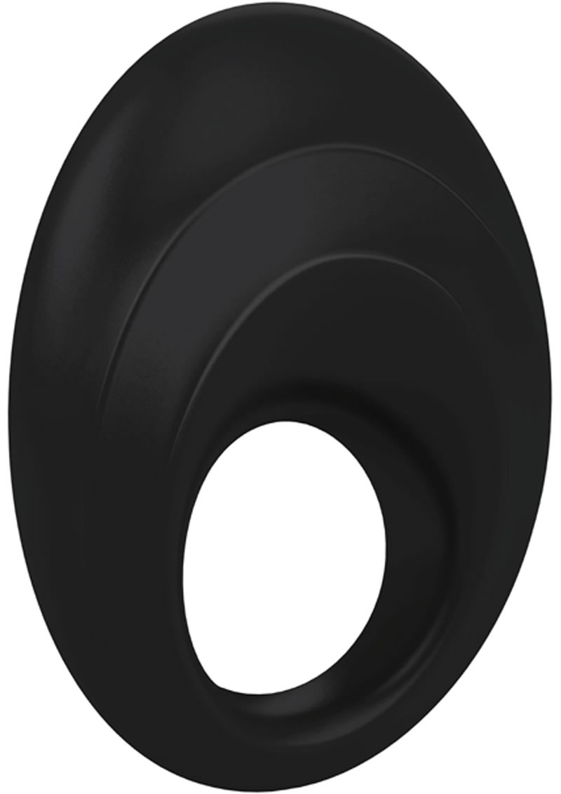 Ovo B5 Silicone Cock Ring Waterproof Black And Chrome