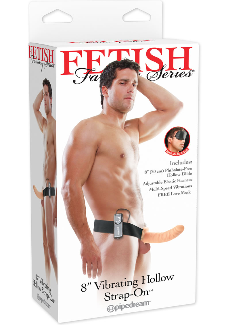Fetish Fantasy Vibrating Hollow Strap On Flesh 8 Inch