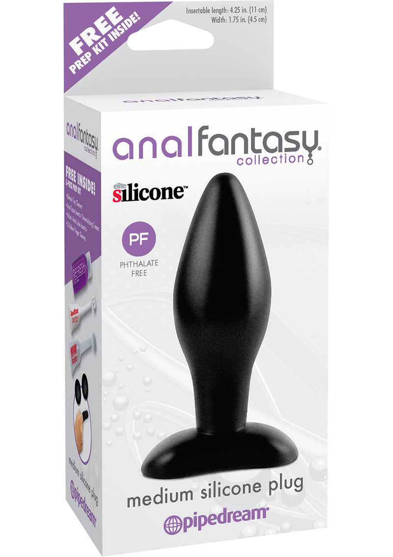 Anal Fantasy Collection Medium Silicone Plug Kit Black 4.25 Inch