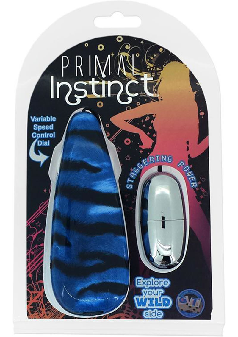 Primal Instinct Wired Remote Control Bullet Tiger Print Blue