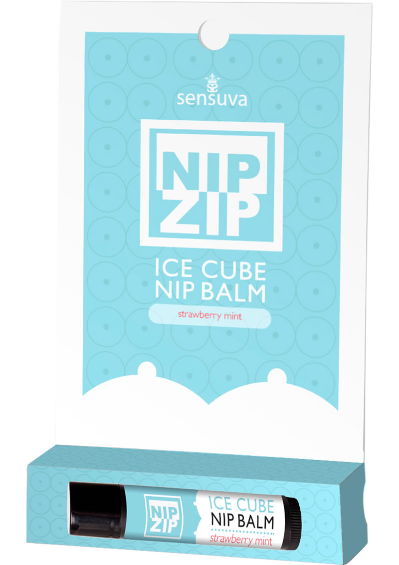 Sensuva Nip Zip Ice Cube Nip Balm Strawberry Mint Flavor