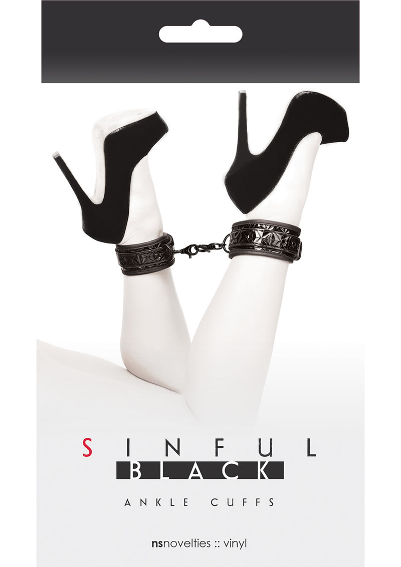 Sinful Ankle Cuffs Vinyl Black