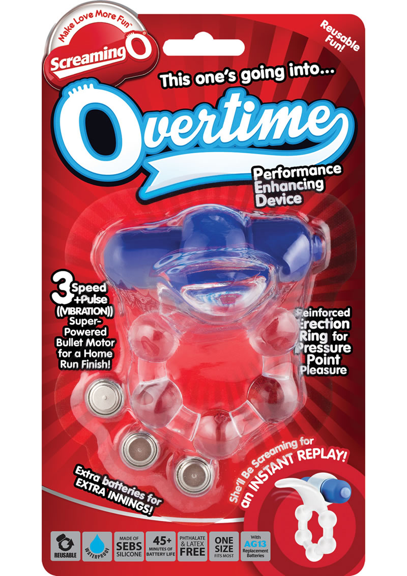 Overtime Silicone Vibrating Cockring Waterproof Blue
