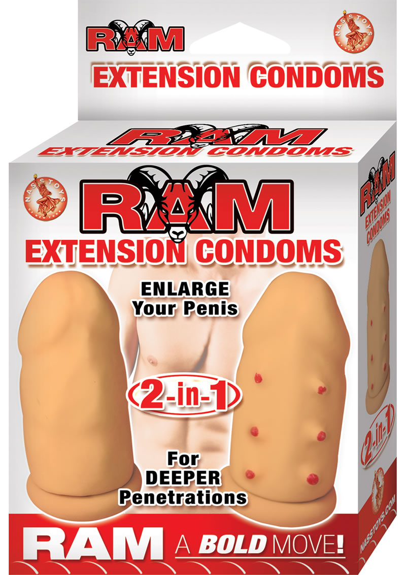 Ram Extension Condoms Latex Extender Sleeves Flesh 2 Each Per Box