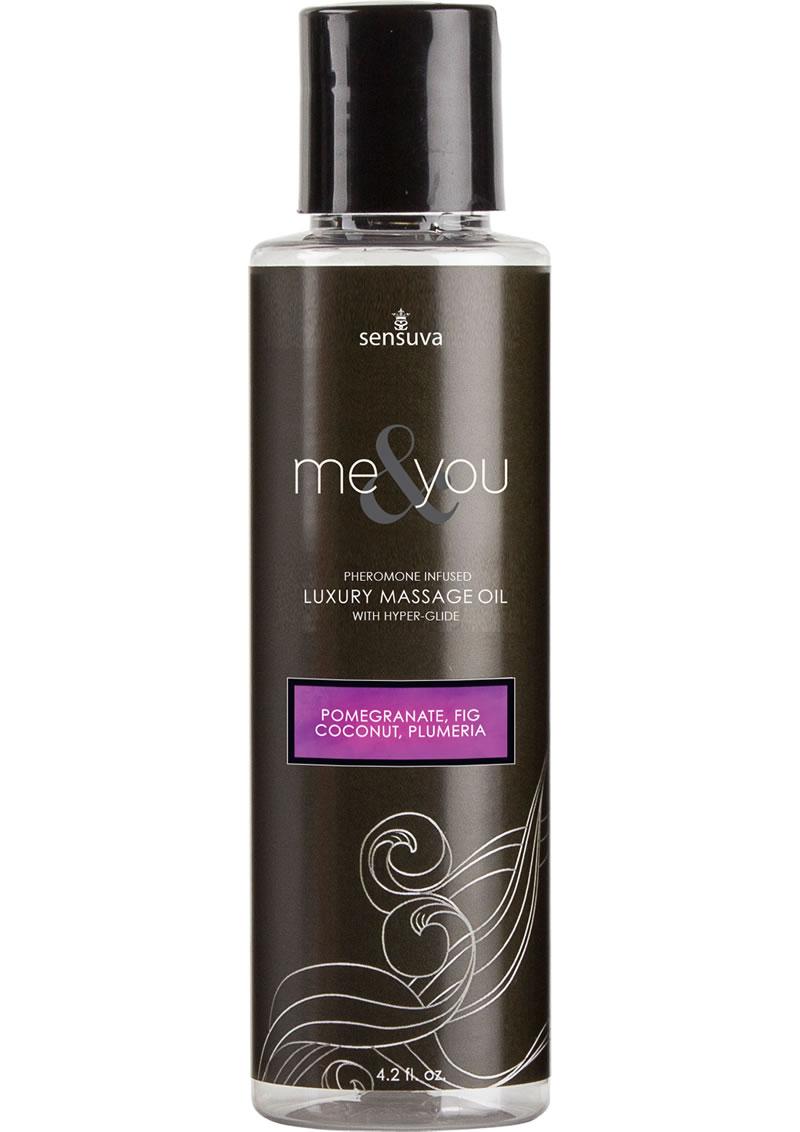 Sensuva Me and You Pheromone Infused Luxury Massage Oil Pomegranate Fig Coconut Plumeria 4.2oz
