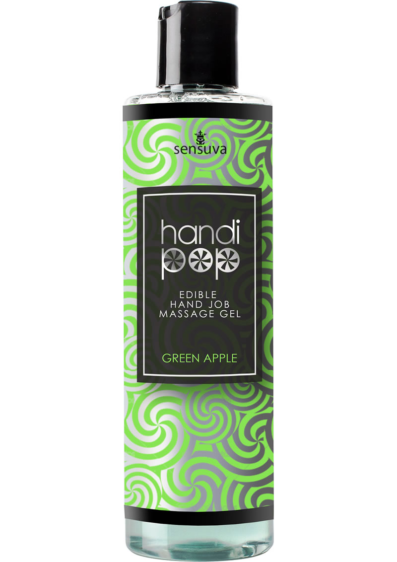 Sensuva Handipop Edible Hand Job Massage Gel Green Apple Flavored Lubricant 4.2oz