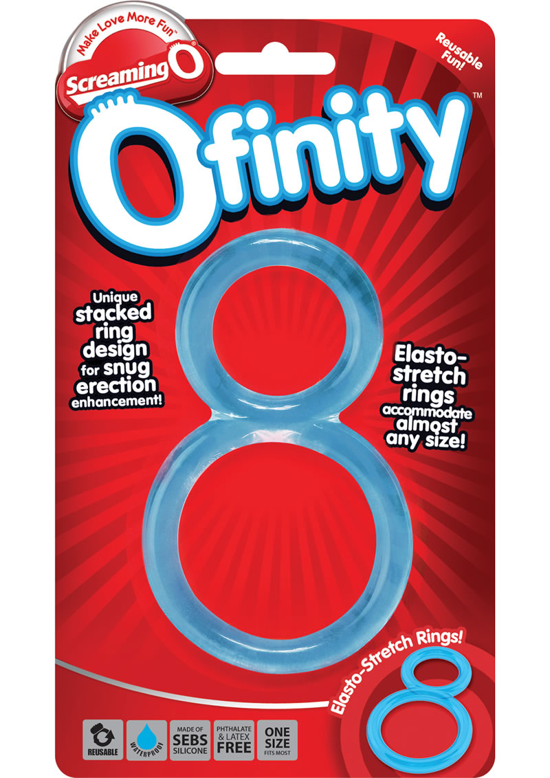Ofinity Super Stretchy Double Silicone Cockring Waterproof Blue