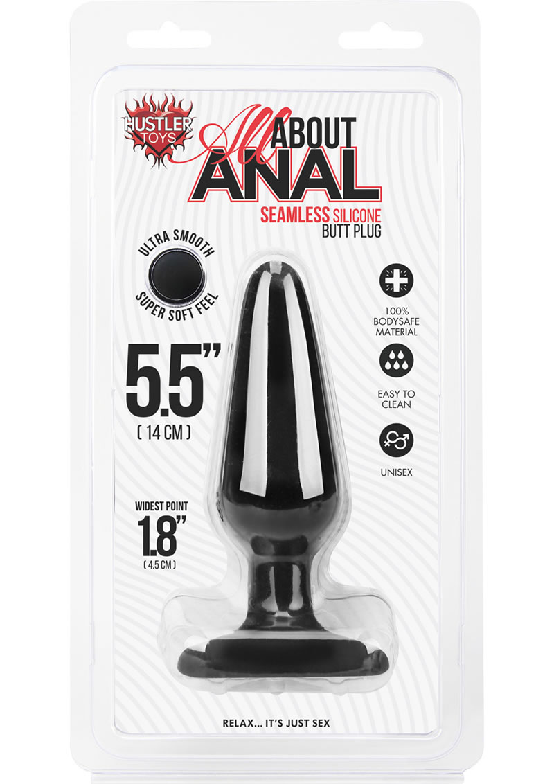Hustler All About Anal Seamless Silicone Butt Plug Black 5.5 Inch