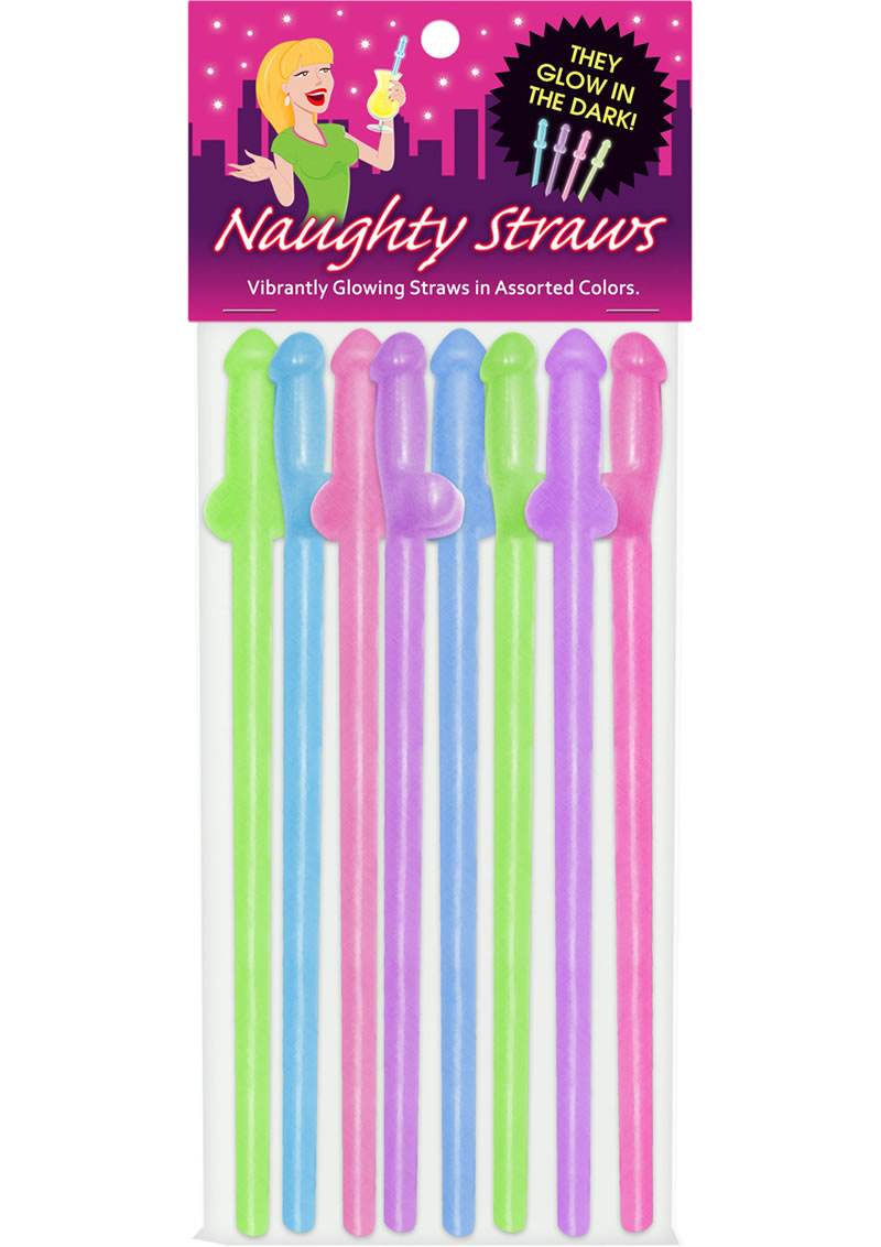 Naughty Straws Glow In The Dark Assorted Colors 8 Each Per Pack