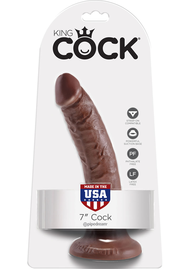 King Cock Realistic Dildo Brown 7 Inch