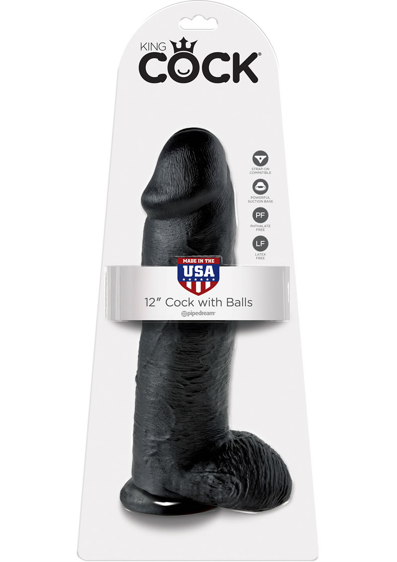 King Cock Realistic Dildo With Balls Black 12 Inch