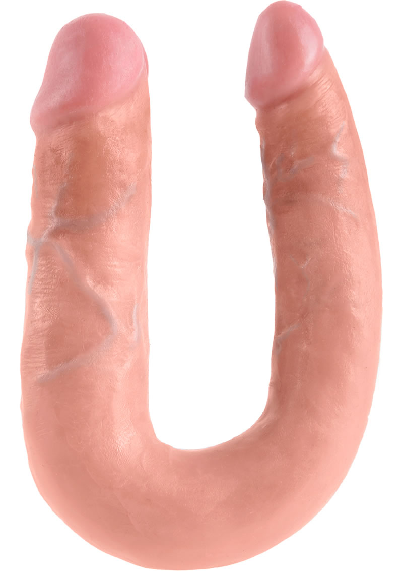 King Cock U-Shaped Medium Double Trouble Dildo Flesh