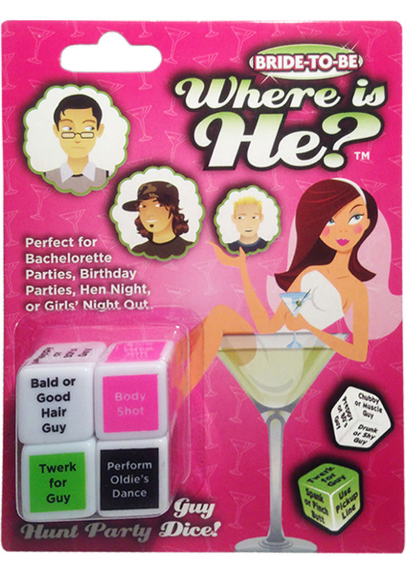 Bride To Be Where Is He? Ultimate Guy Hunt Party Dice Game
