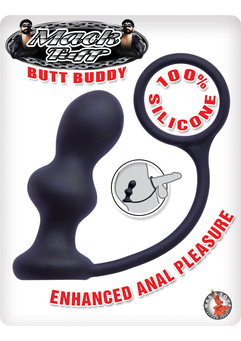 Mach Tuff Butt Buddy Silicone Anal Plug With Cockring Black 4 Inch