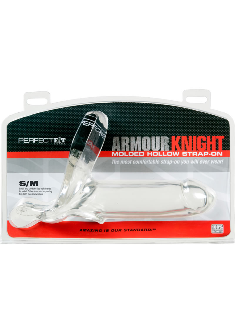 Perfect Fit Armour Knight Molded Hollow Strap-On SM/MD - Clear