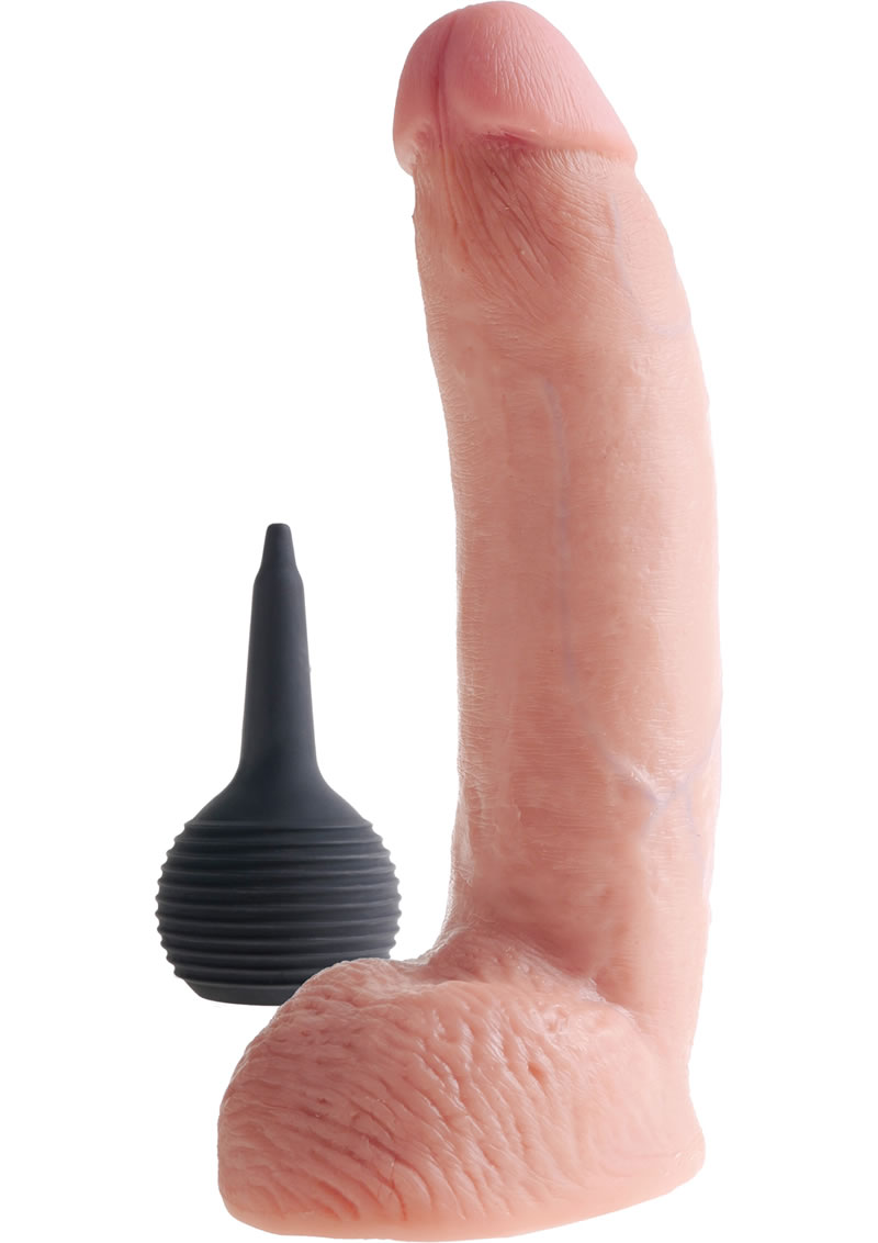 King Cock Squirting Dildo With Balls Dildo Waterproof Flesh 9 Inches
