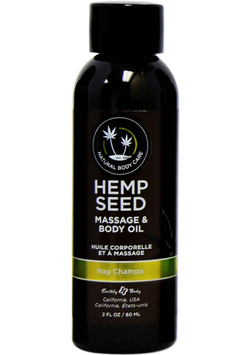 Earthly Body Hemp Seed Nag Champa Massage and Body Oil 2 ounces