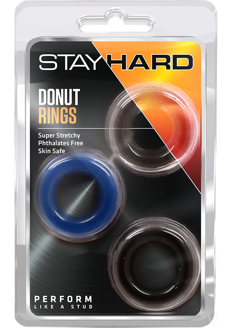 Stay Hard Donut Rings Cock Ring Assorted Colors 3 Each Per Pack