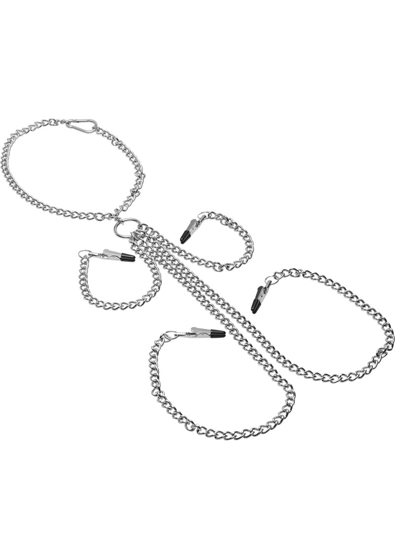 Master Series Chained Collar Nipple Clit Clamp