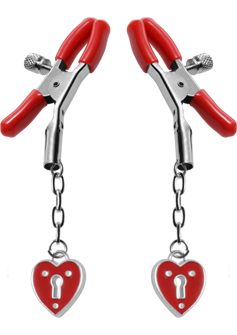 Master Series Charmed Heart Padlock Nipple Clamps Red