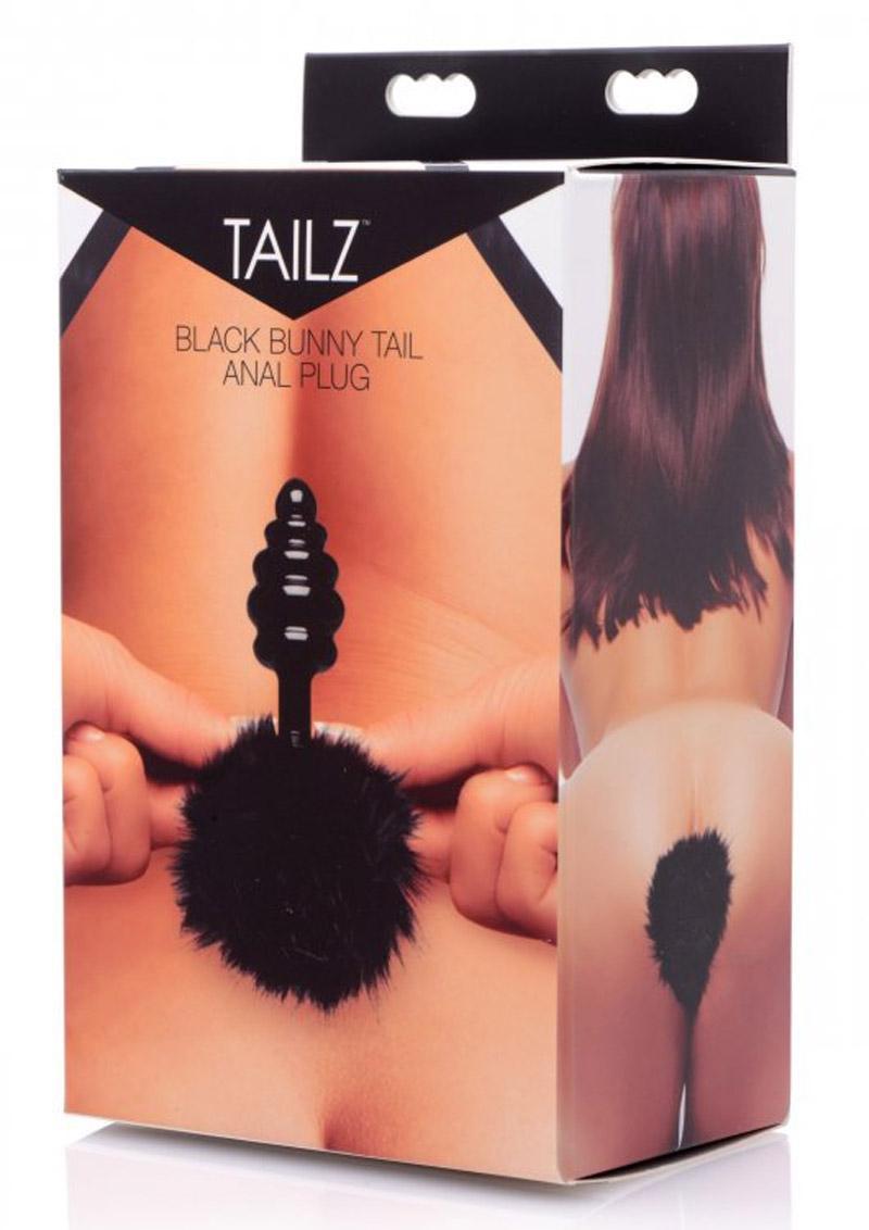 Frisky Bumble Bunny Faux Fur Tail Anal Plug Black 5 Inch