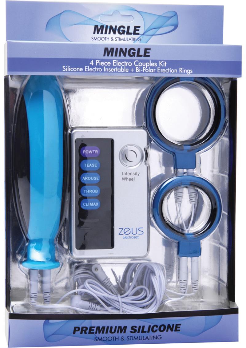 Zeus Mingle 4 Peice Silicone Electro Couples Kit Blue