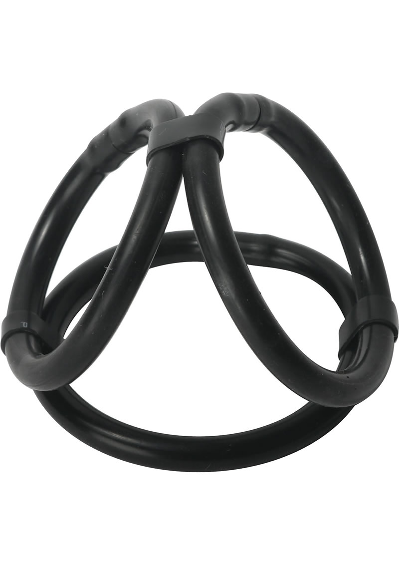 Trinity Vibes Triple Pleaser Silicone Cock Ring Black