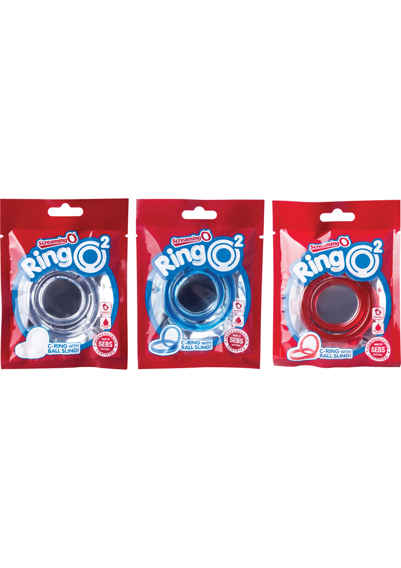 RingO 2 Cockring With Ball Sling Assorted Colors 18 Each Per Box