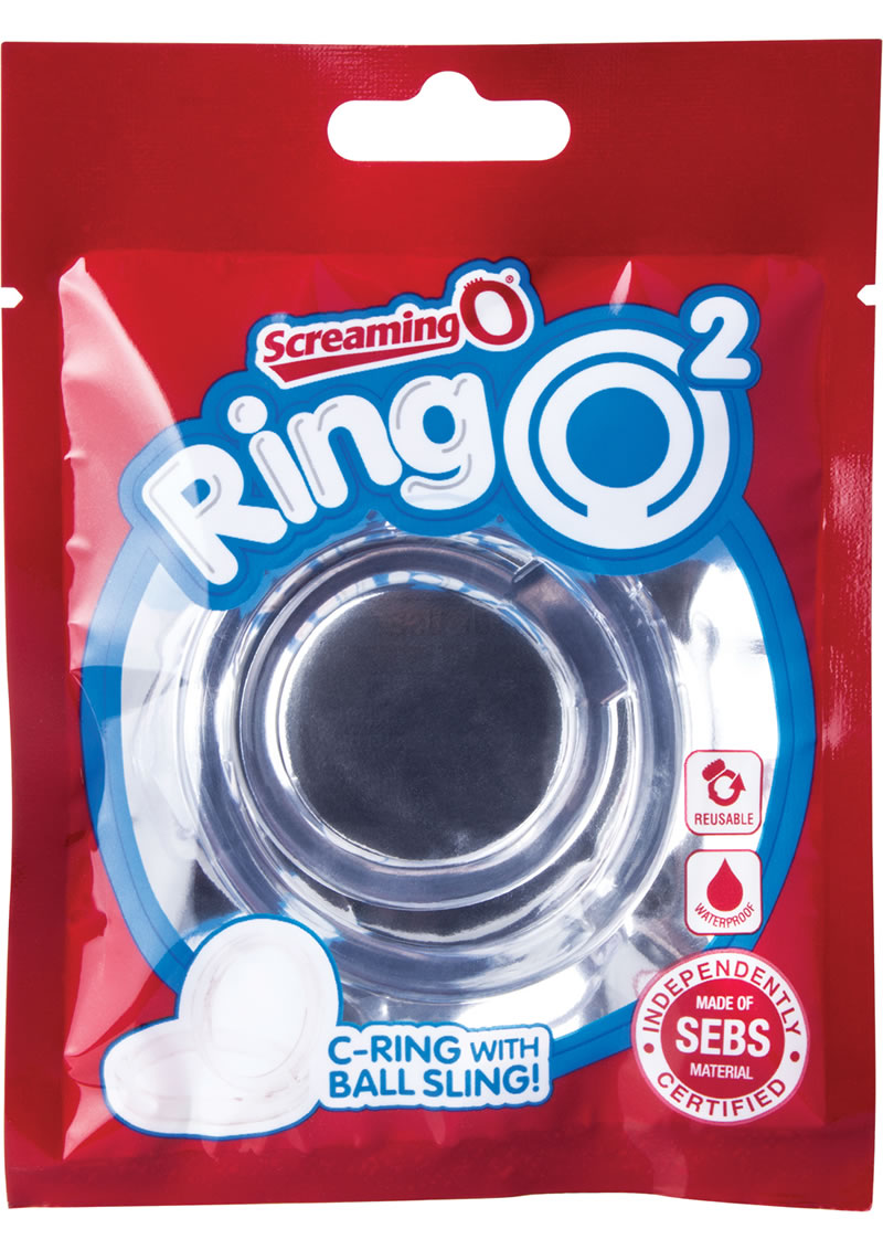 RingO 2 Cockring With Ball Sling Waterproof Clear 12 Each Per Box