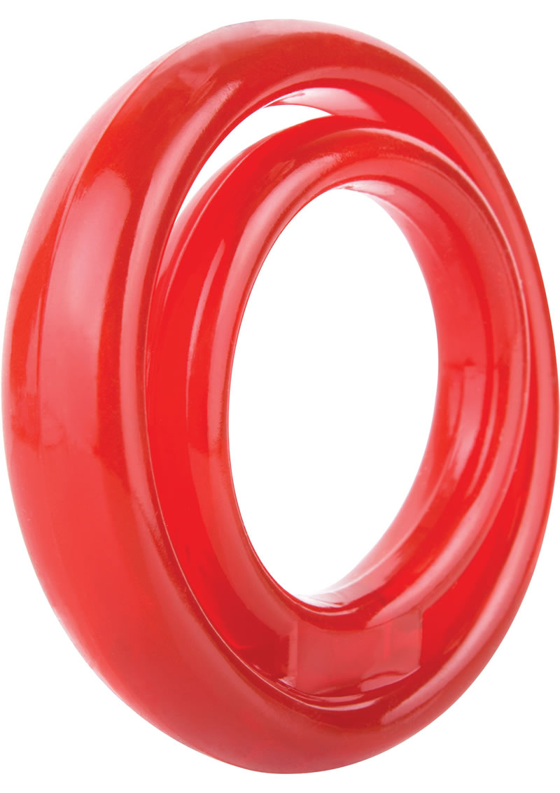 RingO 2 Cockring With Ball Sling Waterproof Red 12 Each Per Box
