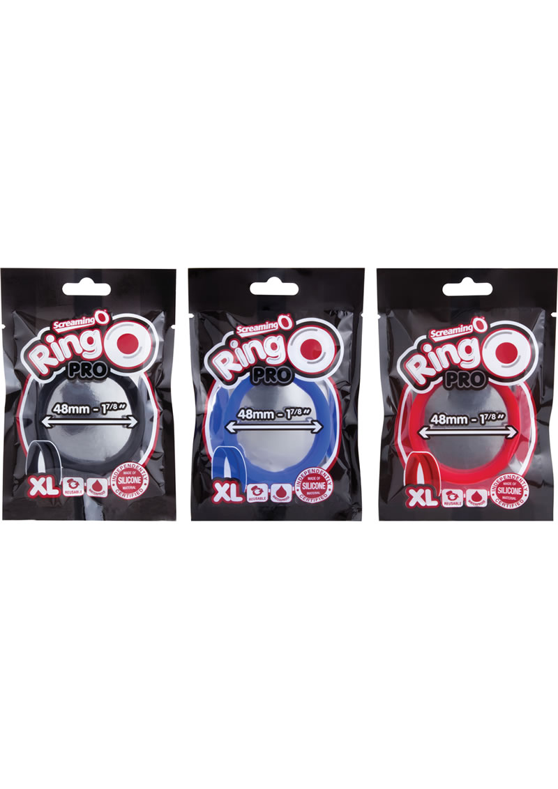 Ring O Pro Xtra Large Silicone Cockrings Waterproof Assorted Colors 12 Each Per Pop Box