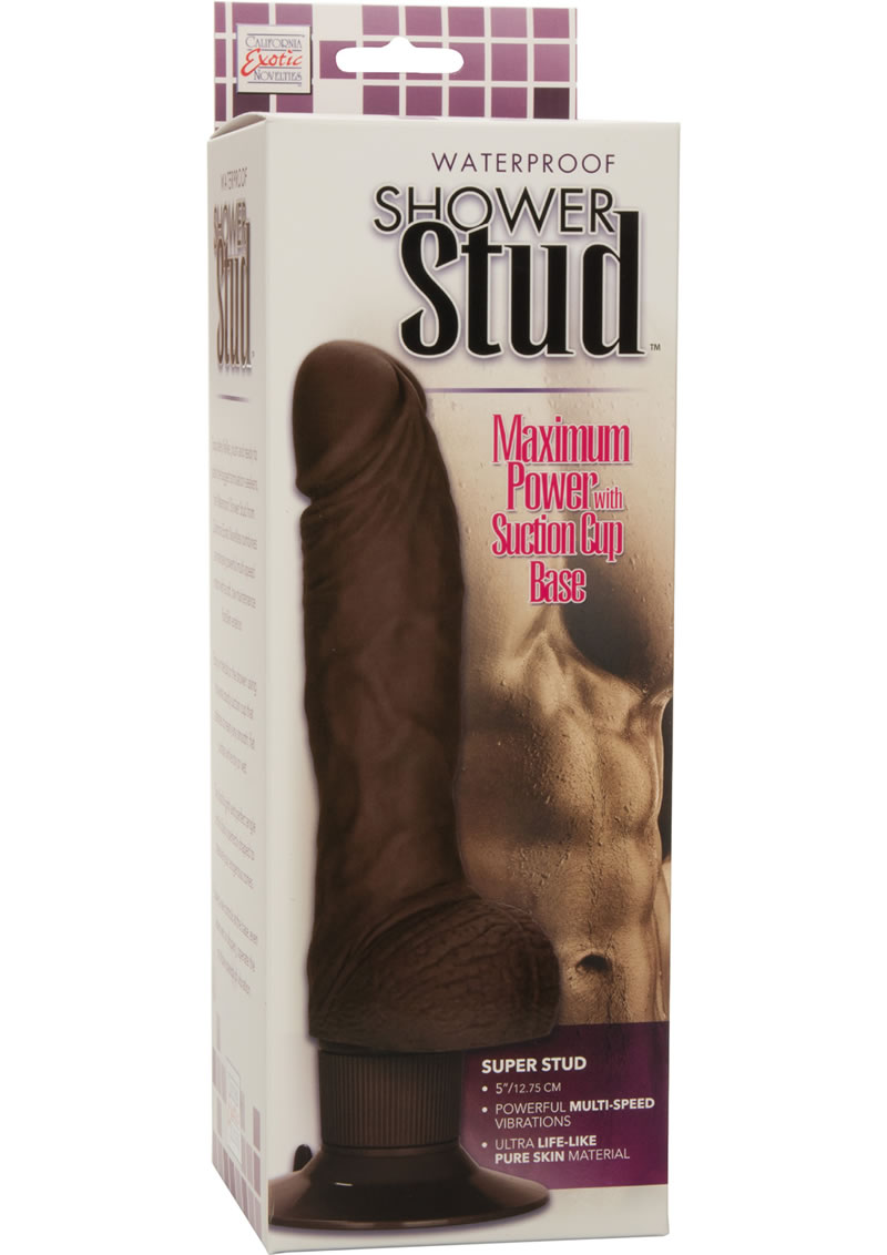 Shower Stud Super Stud Vibrating Dildo Waterproof Brown 5 Inch