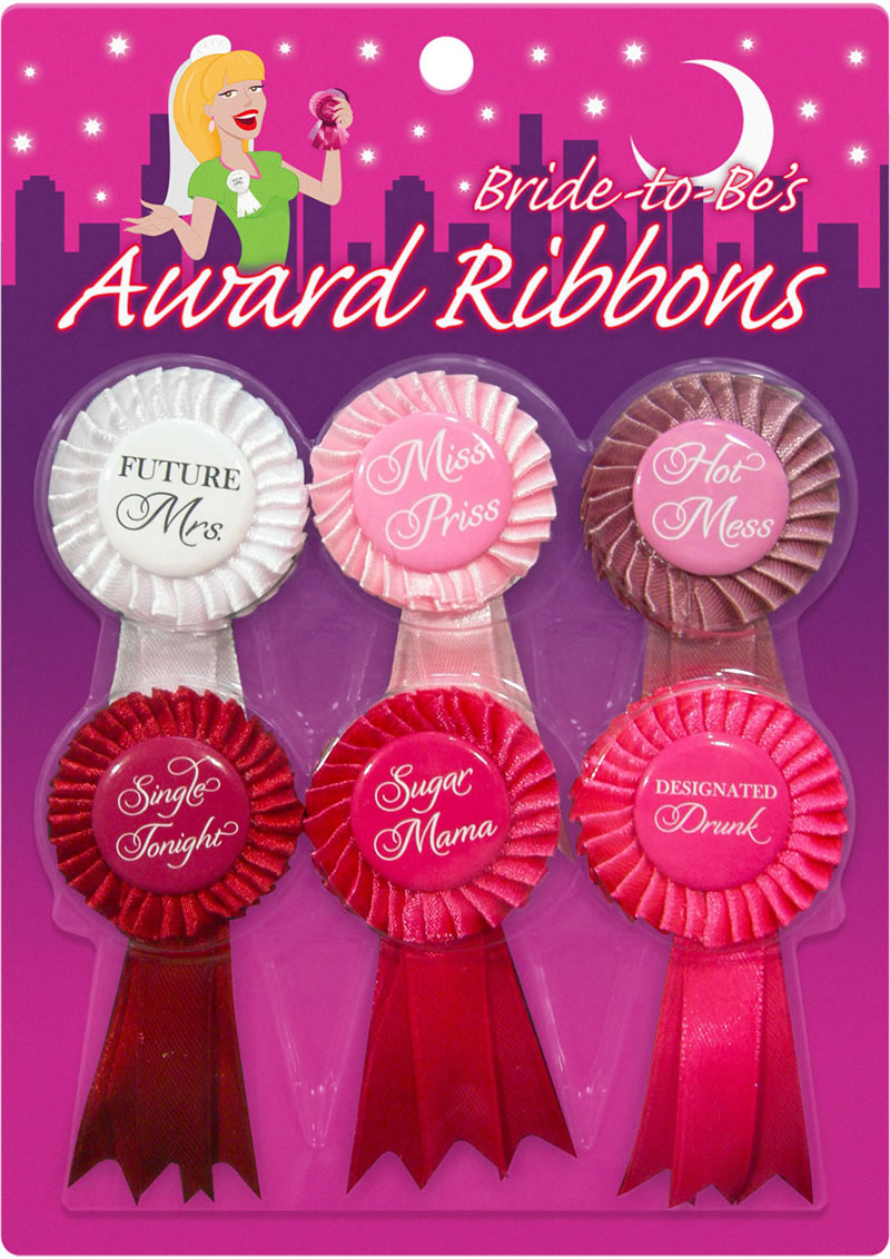 Bride To Be`s Award Ribbons Assorted Colors 6 Each Per Pack