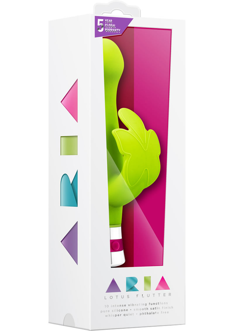 Aria Lotus Flutter Silicone Vibe Waterproof Green 7.25 Inch