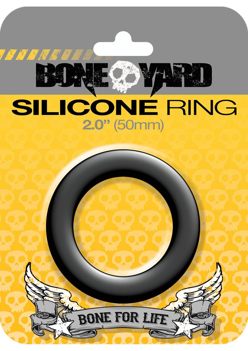 Bone Yard Silicone Ring Cockring Black 2 Inch Diameter