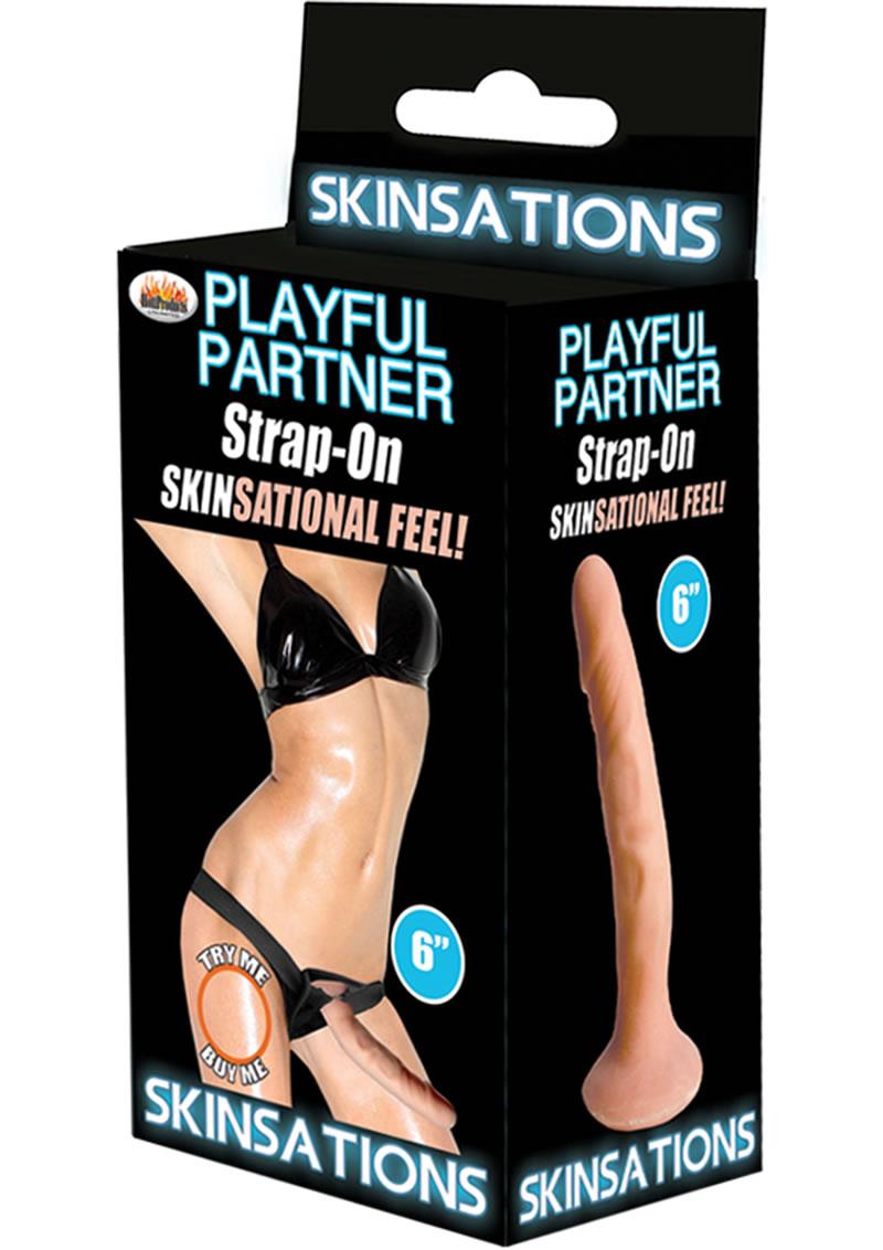 Skinsations Playful Partner Strap On Flesh 6 Inch