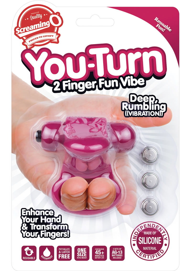 You Turn 2 Finger Vibe Silicone Ring Waterproof Merlot