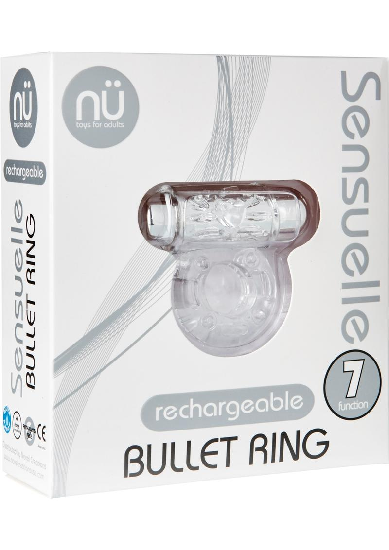 Bullet Ring 7 Function Silicone Rechargeable C Ring Waterproof Clear