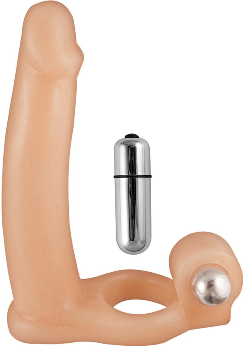Double Penetrator Dream Cockring 10 Function Vibrating Bullet Waterproof Flesh