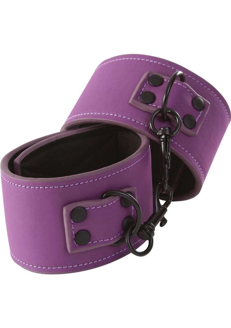 Lust Bondage Wrist Cuff Purple And Black