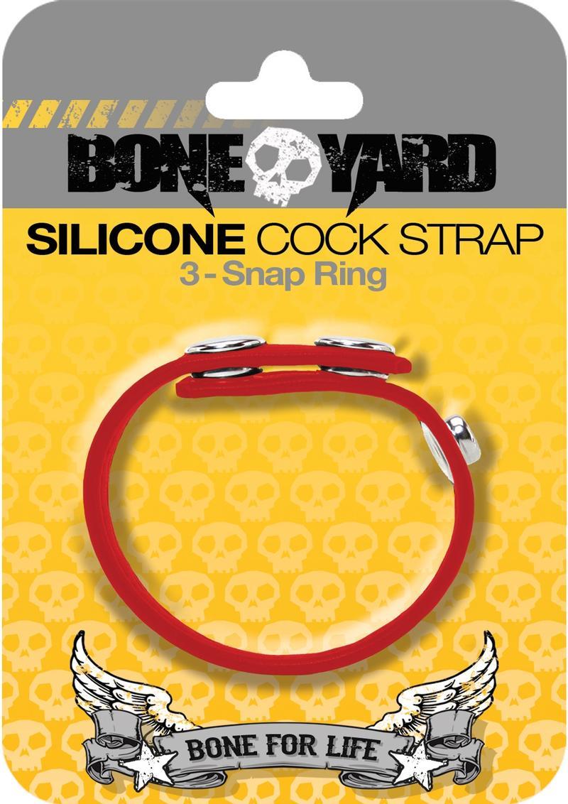Bone Yard Silicone Ball Strap 3 Snap Ring Red