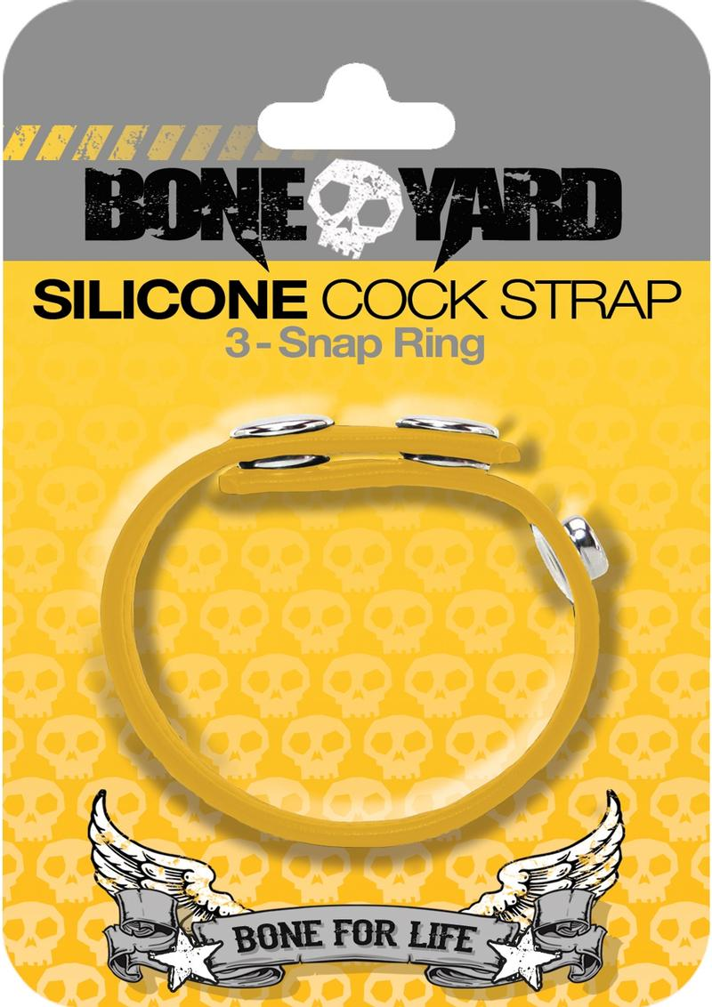 Bone Yard Silicone Cock Strap 3 Snap Ring Yellow