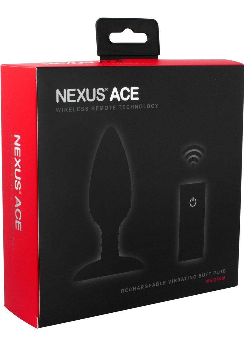 Nexus Ace Wireless Remote Rechargeable Vibrating Silicone Butt Plug Waterproof Black Medium
